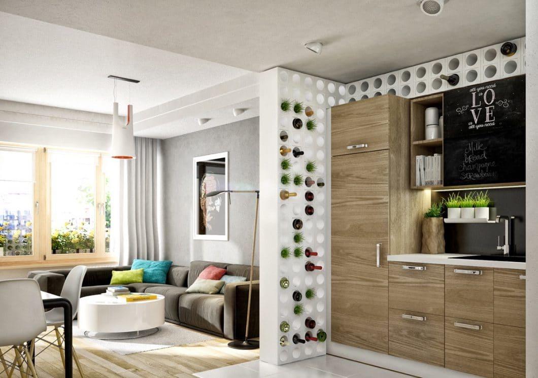 So ein Weinregal kann auch die perfekte Trennwand zwischen Küche und Wohnzimmer sein - und beiden Zimmern zum jeweiligen Anlass dienen. (Visualizer: E3A)
