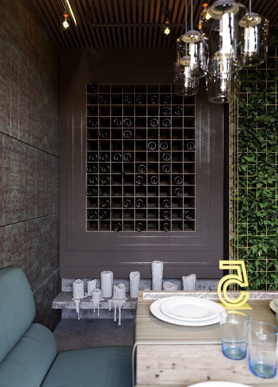 In dieser dunklen Sitzecke kann der Wein in Ruhe lagern - und ist doch nur eine Handbreit von der geselligen Runde entfernt. (Visualizer: Konstantin Kildinov)