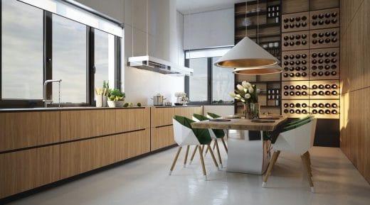 Ein echter Hingucker in der Küche und zum Greifen nah: Die hölzerne Wein-Vorratswand. (Visualizer: Oleksii Karman)